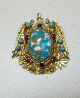 VINTAGE ORNATE Faux AMETHYST Turquoise BAROQUE  FLORENZA BROOCH/PIN LOVELY!
