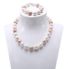Fashion Women 12-14mm Multicolor Freshwater Baroque Pearl Necklace Bracelet Sets