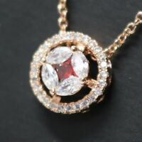 """Sparkling Red Ruby Moissanite Halo Pendant Necklace Wedding Jewelry 18"""" Chain"""