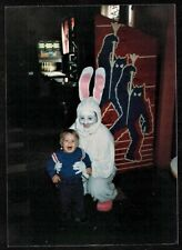 Vintage Photograph Little Boy w/ Person in Crazy Bunny Rabbit Costume Halloween