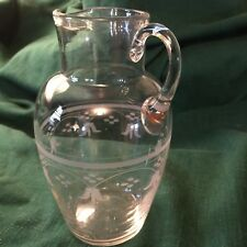 Vintage Etched Glass Small Pitcher (probably 1950s)