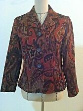 Coldwater Creek PXS blazer jacket colorful maroon print button up size petite