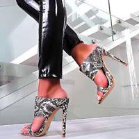 Ladies Mule High Heels Slim Snakeskin Open Toe Sandals Party Slip On Summer Shoe