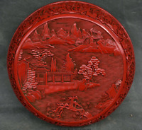 """8"""" Old Chinese Palace Red lacquerware Mountain Water Pine Tree Houses Round Box"""