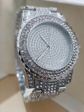 Luxury Men's Diamond Dial Quartz Silver Bracelet Watch Hiphop Bling Iced out WOW