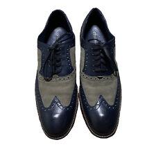 Mens ColeHaan Oxford Blue & Gray Wingtip Shoes Size 11.5 EXCELLENT SHAPE! C28681