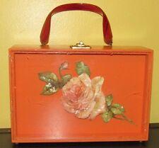 ~Vintage Wood Orange Shadow Purse with Flower & Lucite Handle~