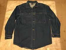 Vintage 90s KARL KANI Jeans Blue Denim OVERSIZED Jacket Adult Size XL 2PAC HUGE!