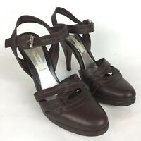 POLLINI  Size 7 37 Brown Leather Round Toe Heels Pumps Italy Vero Cuoio