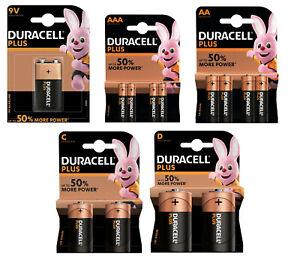 DURACELL PLUS ALKALINE POWER ENERGY BATTERIES CELL AAA AA C D 9v BATTERY