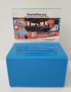 Source One Small 5-Inch Wide Deluxe Oblong Donation Box With Ad Frame & Lock
