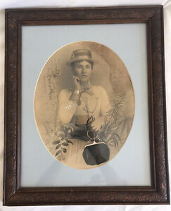 Antique 1880s Picture In Glass Wood Frame