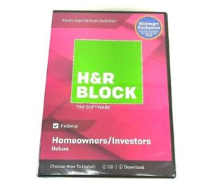 H&R Block 2018 Deluxe Tax Software Federal Homeowners/Investors Sealed