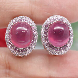 NATURAL 10 X 12 mm. CABOCHON RED RUBY & PINK CZ EARRINGS 925 STERLING SILVER