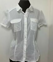 H&M Womens Cap Sleeve Cotton Blouse / Fitted Shirt Size UK 8-10 White