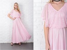 Vintage 70s Pink Boho Dress Crochet Draped Slouchy Maxi XS