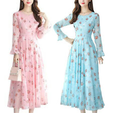 Women's Floral Long Sleeve Swing Maxi Dress Casual Holiday Party Long Dresses US