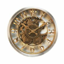 Hometime Wall Clock Rustic Style Gold Case Skeleton Dial Vintage Style