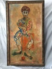 LARGE Mid-Cent Mod 1940's Original Harlequin/Clown encaustic painting by Aronson