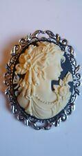 Black Victorian Lady Cameo Brooch Medieval Pin Pagan Wedding Gothic
