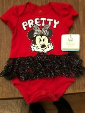 New listing Disney Baby Infant Girl Minnie Pretty Mouse Tutu Body Suit Red 3 To 6 Months