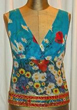 RARE! VINTAGE D&G Dolce & Gabbana Silk Floral Sexy Halter Sequin Turquoise Top