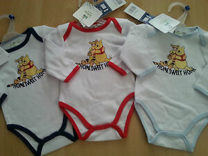 Baby bodysuit Winnie the Pooh one piece long sleeve with trim blue navy red