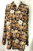 HABAND FOR HER knit top SIZE 3XL brown black floral v-neck long sleeves (I185)