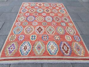 Vintage Kilim Traditional Hand Made Oriental Red Pink Wool Kilim Rug 285x200cm