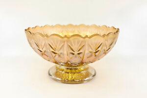 Rare DIAMOND CUT Carnival Glass Serving Bowl, Australian Crown Crystal c1920s