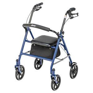 4 Wheel Rollator Rolling Walker with Padded Seat Storage Basket Hand Brake 300lb