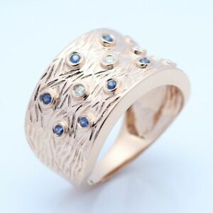 Sterling Silver Full Natural Diamonds Sapphires Gemstone Band Ring Fine Jewelry
