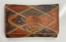 B Cavalli Soul Leather Women Wallet Alligator Red Brown W. Box Euro Style Italy