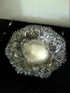 Antique Sterling Silver Bowl Embossed.