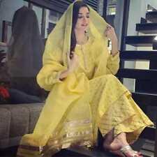 Women Indian Cotton Palazzo Kurta With Dupatta Readymade Yellow Kurti Palazo Set