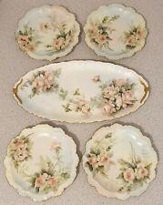 More details for antique t&v - j p limoges - small platter & 4 x side plates - all artist signed