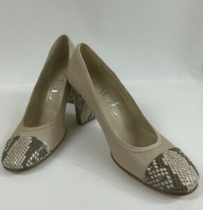 AGL Italy Beige Leather Snakeskin Cap Toe Pumps Heels Shoes Size 40 - 10