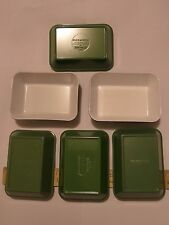 VINTAGE OLYMPIC AIRWAYS 6 GREEN FOOD TRAYS LOT BY DISPOWEAR LONDON  WAS $130