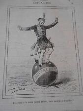 Typo Caricature 1877 - Le Turc en équilibre sur une boule