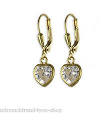 Paar Ohrhänger Zirkonia Ohrringe 333 Gold 25 x 8 mm Goldschmuck Damen Schmuck