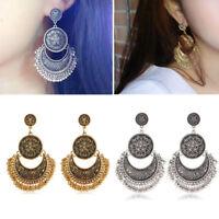1Pair Vintage Women Bohemian Boho Style Carve Beads Tassel Dangle Earring