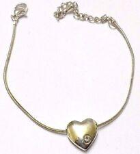 bracelet réglable bijou vintage couleur argent maille serpent coeur cristal  333