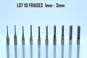 Set 10 Fraises carbure 1-3mm Dremel CNC Proxxon pour Bois Résine Circuit Imprimé