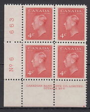 CANADA #287 4¢ King George VI LL Cracked Plate #6 Block MNH
