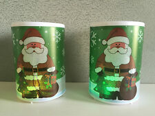 Pack of 2 Glitter Sparke Santa Print LED Colour Change Christmas Candles