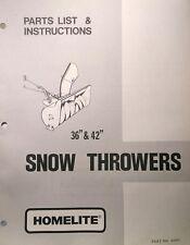 Homelite T-10 12 15 16 Garden Tractor Snow Thrower Implement Owner & Part Manual