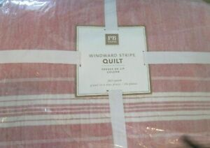 Pottery Barn Teen Windward stripe full queen quilt red New with tags
