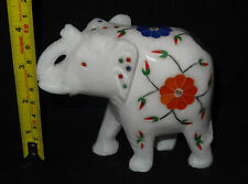 "4"" Marble Elephant Pietradura Floral Inlaid Semi Precious Stone Work Decor Gifts"