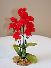 SMALL 5 in. Bright RED silk Artificial Fish Aquarium FLOWER PLANT w/ STONE BASE
