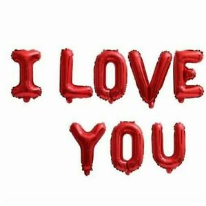 I Love You Letter Foil Balloons Rose Gold Heart Balloons Party Wedding Day Decor